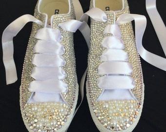 Bridal Converse,,Crystal shoes,Custom converse,Wedding converse,Bridal shoes,Wedding Shoes,Wedding Flats,Swarovski Shoes,Party Shoes,Bride
