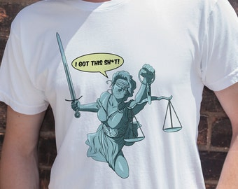 Lady Justice | Men's Unisex Federal Court Justice T-Shirt | Constitution Checks and Balances Political T-Shirt and Clothing