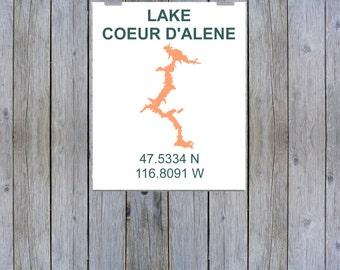 Lake Coeur D'Alene Coordinate Print