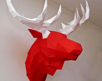 Deer Head Trophy,  3D papercraft , Gift diamond tamplate FREE