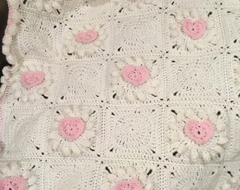 Hearts and Flowers Baby Blanket