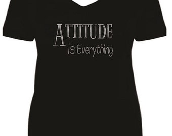 Rhinestone Attitude Ladies Short Sleeve V Neck T Shirt                                                                  A1U3