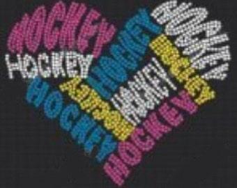 Hockey Heart 3 Rhinestone Iron On T Shirt Design     CT9F