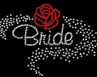 Rhinestone Bride Scatter with Rose Lightweight T-Shirt or DIY Iron On Transfer                                       T8N5