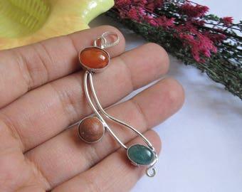 Beautiful pendant-Sunstone, green and orange onyx pendant- Silver plated - Multiple stone pendant-German silver- boho pendant-lovely pendant