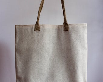 Custom linen tote bag with hemp rope handles