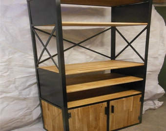 Library Croisix 3, steel and wood oak