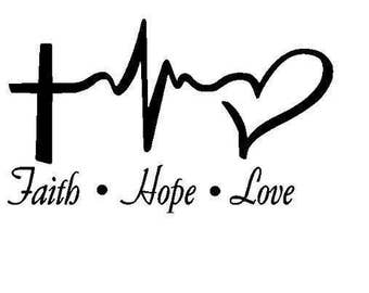 Faith love hope heartbeat decal