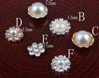 Vintage Handmade Mini Round Metal Rhinestone Button Alloy Crystal Flatback Flower Pearl Buttons for Hair accessories Wholesale DIY