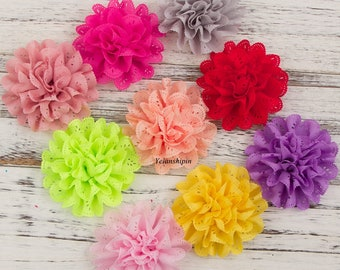 Free Shipping Soft Chic Blossom Eyelet Flowers For Children Hair Accessories Artificial Fabric Flowers For Headbands Flower Supplies 10cm