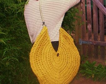 Shoulder Bag. Pure Hemp. Handmade Crochet. Light gold handles.