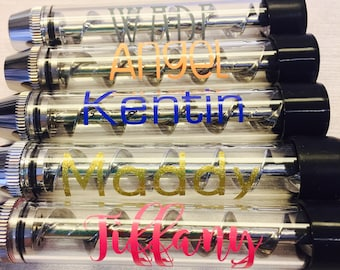 Custom Silver Twisty Glass Blunt, Personalized Name Option, Includes Rubber Cap, Cleaning Brush, Portable, Great for daily use, Tobacco Use