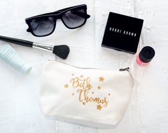 Personalised Makeup & Cosmetic Bag (Full Name With Stars) - The Perfect Wedding Thank You Gift for your Bridesmaids and Bridal Party