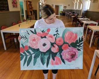 Bright Fun Flowers Acrylic Painting, Canvas, peonies, roses, vines, leaves