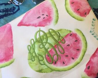 Monogrammed Watermelon Print Swimsuit Wet/Dry Bag