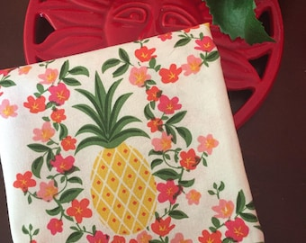 Monogrammed Pineapple Tea Towel