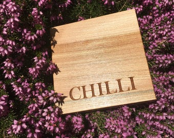 Chilli - Mini Wooden Chopping Board. Christmas Gift .