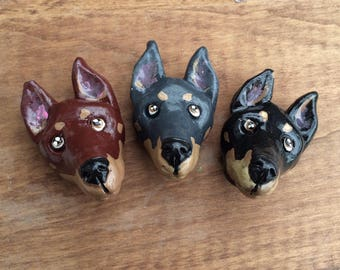 Doberman Magnet Set, Doberman Fridge Magnets, Dog lover gift, Doberman art