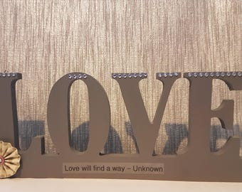LOVE - Free standing or hang up by hooks