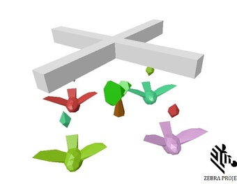 Baby Mobile PDF Template - Bird Baby Mobile, Bird Mobile, Hanging Baby Mobile, Nursery Mobile, 3D Paper Mobile