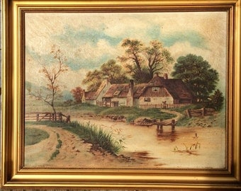 Shabby chic vintage English school oil painting of rural scene of cottages at a river crossing
