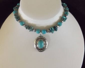 Turquoise/Silver Pendant on Beaded Turquoise Necklace