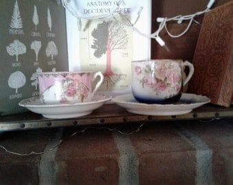 Reduced Pair of Antique German Tea or Coffee Cups for Man and Woman