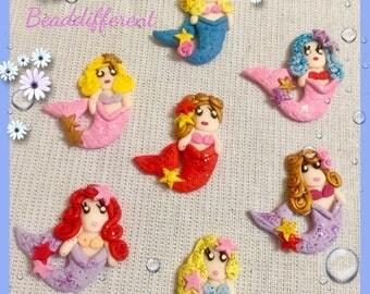 Polymer clay mermaids, cabochon, flat backs embellishments