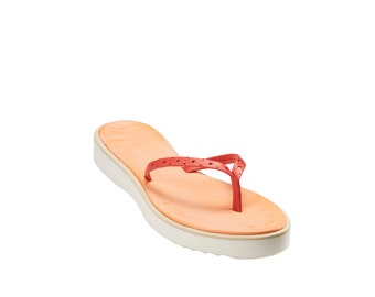 Italian Shoes -  The Positano Leather Thong Sandal / Flip Flop
