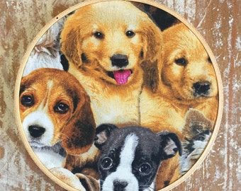 Puppies embroidery hoop wall hanging
