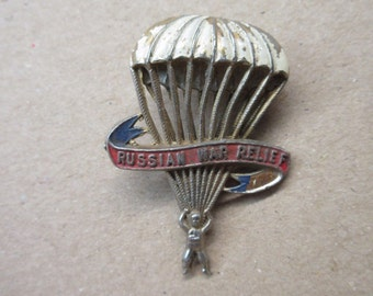 """WW2 """"Russian War Relief"""" Paratrooper Pin Signed """"Official RWR"""" 2"""" x 1 1/2"""""""