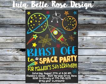 Space Invitation, Space Birthday Invitation, Rocket Ship Invitation, Outer Space, Outer Space Birthday, Astronaut Birthday Invitation
