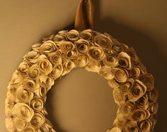 Vintage Book Paper Rose Wreath