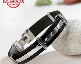 Sterling silver bracelet/ Men leather bracelet/ Leather bracelet/ Leather cuff/ Mens jewelry/ Handmade jewelry/ Silver leather cuff/ For him