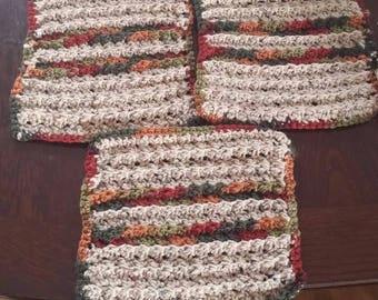 Acrylic Ridged hand crocheted dishrags