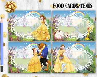 Beauty & the Beast Food cards Princess Belle place cards Food cards tents