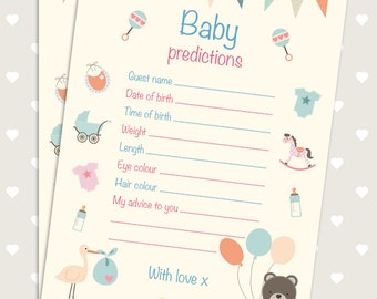 Pack of 15,20 or 25 cards. Baby shower games - prediction cards. For boys and girls. 15 cards.