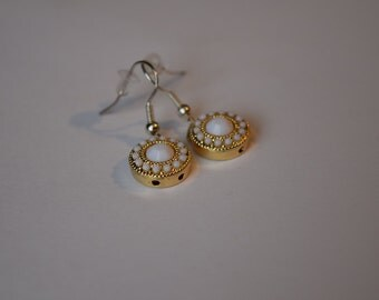 Gorgeous Gold & White Detailed Classy Dangle Earrings