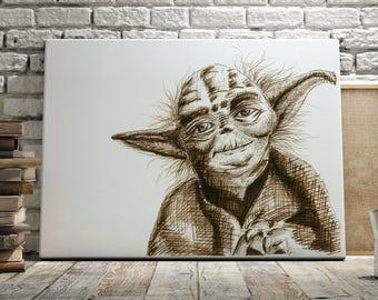 Sepia, Printable Art, Illustration, Retro, Geek, Wall Art, Star Wars, Yoda, PRINTABLE, DOWNLOADABLE PRINT