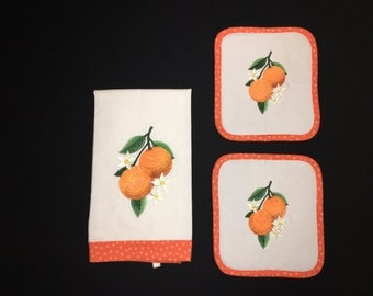 Embroidered Orange Fruit Towel and Two Quilted Potholder Set