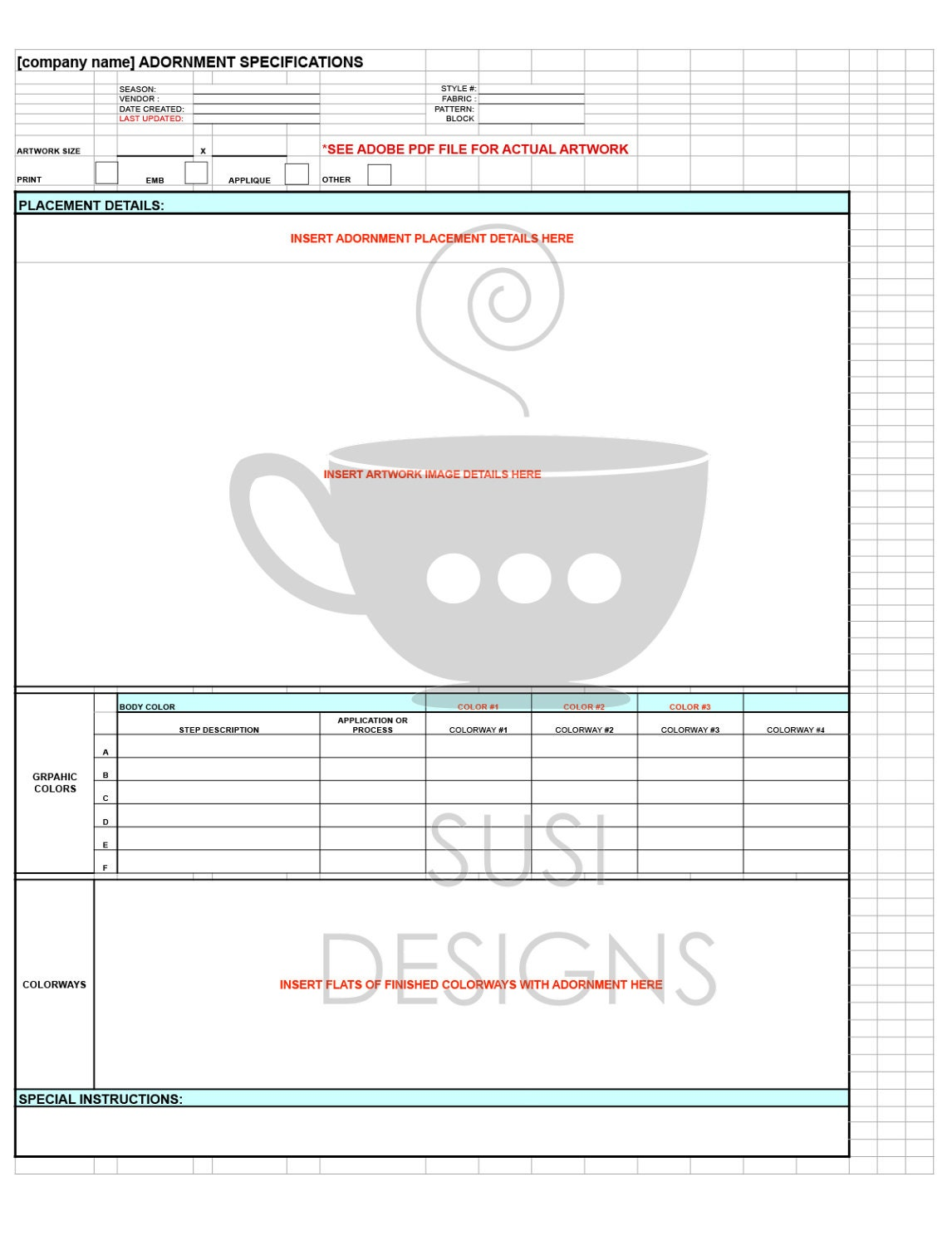 Technical Specification Sheet Templates for Fashion Design - Basic ...
