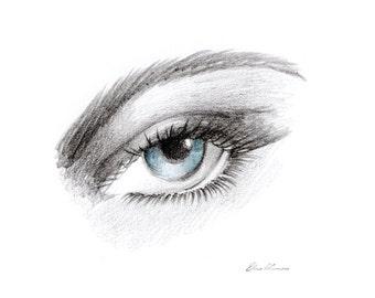 Eye Print, blue eye art, hand made pencil drawing, printable art, home design, wall art, blue eyes printable, eye printable, fashion print
