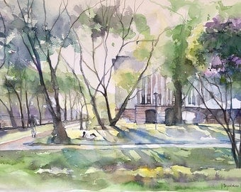 Original Landscape Watercolor Painting Spring Afternoon Trees Sofia