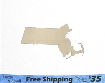 Massachusetts MA State Cutout - Large & Small - Pick Size - Laser Cut Unfinished Wood Cutout Shapes (SO-0010-21)