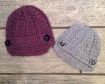 Crochet newsboy newborn newsie hat with double buttons