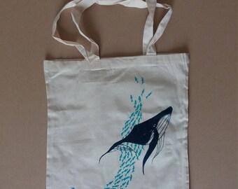 Bag in cotton canvas, silkscreen, under the Ocean