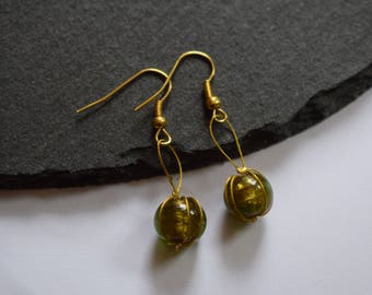Wrapped Green Foiled Glass Round Bead Gold Plated Drop Earrings