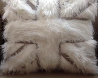 Fur Union Jack cushion