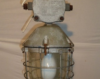 Vintage Industrial Lamp -explosion proof caged
