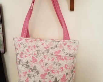 Pink butterfly purse/ tote bag/ handbag